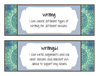 """CCSS Aligned 6th ELA """"I can..."""" Objective Statements"""
