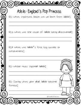 CCSS Aligned: Adele Close Reading Passage & Text Dependent questions