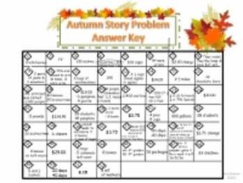 Autumn Theme Story Problem Solving Task Cards for 3rd - 5th Grade