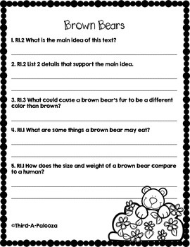 CCSS Aligned: Brown Bears Close Reading Passage & Text Dependent Questions
