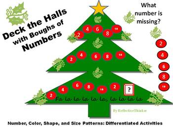 Math Patterns Christmas or Holiday Tree Differentiated, Interactive PowerPoint