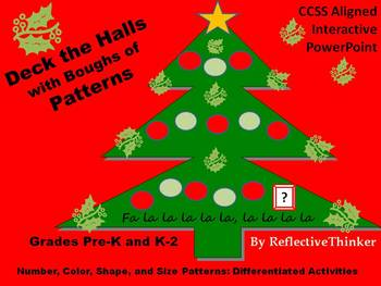 Math Patterns Christmas or Holiday Tree Differentiated, In