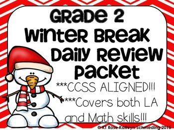 CCSS Aligned Christmas/Winter Break NO PREP Take Home Review Packet