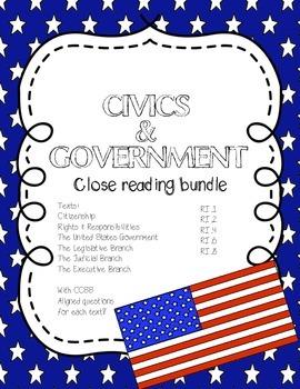CCSS Aligned Close Reading Bundle: Civics & Government (6 passages)