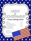 CCSS Aligned Close Reading Bundle: Civics & Government (6