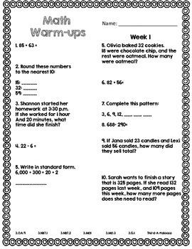 CCSS Aligned FREE Math Warm Up 4 Week Month 1 Set Grades 3-4