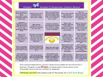 CCSS Aligned Fiction & Non-Fiction Reader's Response Choice Board Bingo