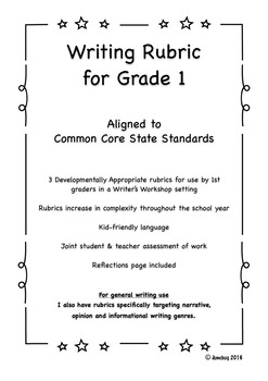 CCSS Aligned General Writing Rubric for Grade 1