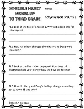 CCSS Aligned Horrible Harry Moves up to Third Grade Book Study 29 Pages!