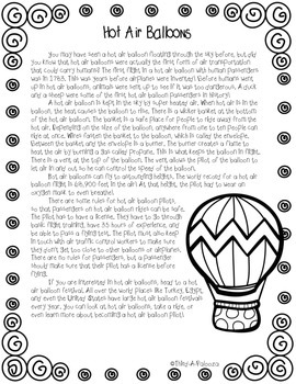CCSS Aligned: Hot Air Balloons Pack- Close read, language, and writing !