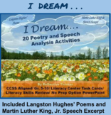 "CCSS Aligned ""I Dream"" Poetry and Speech Analysis Activities"
