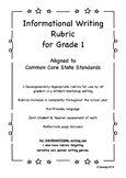 CCSS Aligned Informational Writing Rubric for Grade 1