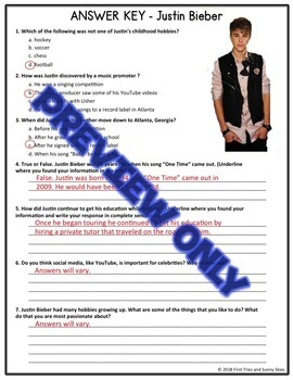 CCSS Aligned - Justin Bieber Reading Comprehension Passage - Informational Text