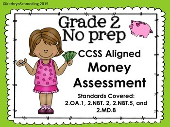 CCSS Aligned NO PREP Word Problem Money Assessment