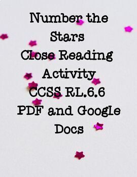 CCSS Aligned Number the Stars Chapter 3 Close Reading RL.6.6 Google Docs