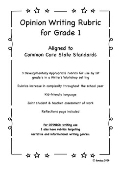 CCSS Aligned Opinion Writing Rubric for Grade 1