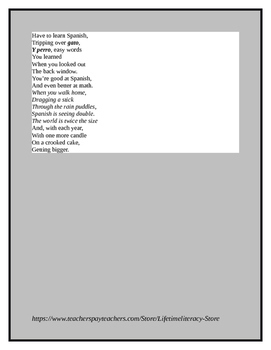 CCSS Aligned Poetry Activities for Red Hot Salsa Poems for Young Latino Students