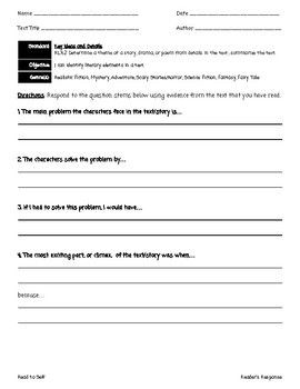 CCSS Aligned Reader's Response Sheets