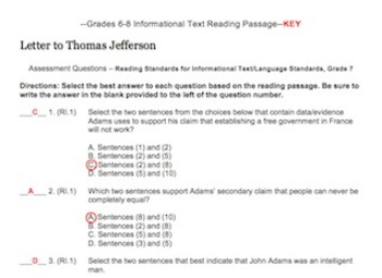 CCSS Aligned Grade 7 Reading Informational Text and Language Assessment Practice