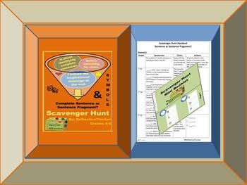 CCSS Aligned Scavenger Hunt:  Complete Sentences, Sentence Fragments, & Symbols
