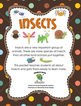 CCSS Aligned Science Kit: Informational Text and Test on Insects