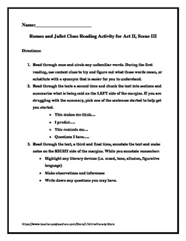 CCSS Aligned Shakespeare's Romeo & Juliet Close Reading of Act 2, Scene 3