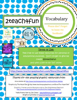 CCSS Aligned Vocabulary Boxes