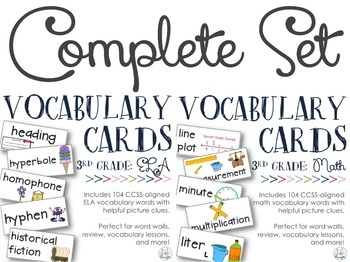 CCSS-Aligned Vocabulary Cards {3rd Grade Math & ELA}