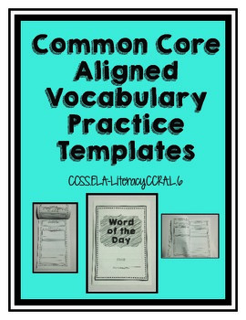 CCSS Aligned Vocabulary Practice Template