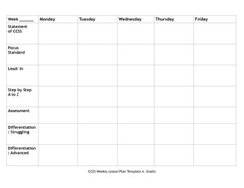 CCSS Aligned Weekly Lesson Plan Template