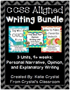 CCSS Aligned Writing Bundle: Personal Narrative, Opinion, and Explanatory Units