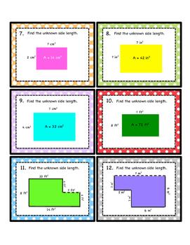 Area Measurement Task Cards - Math Centers