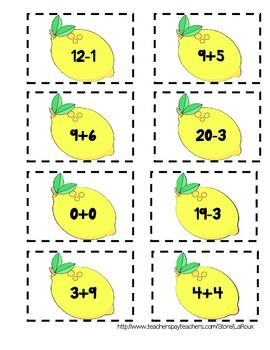CCSS Associative Property Addition to 20 meaning of equal sign {lemonade}