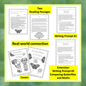 """CCSS """"BUTTERFLIES AND MOTHS"""" TEXT-BASED WRITING ASSIGNMENT"""