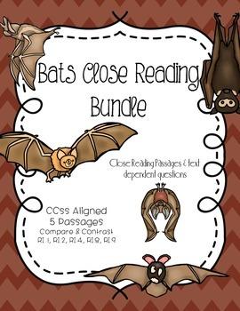 CCSS Bats Bundle: Close Reading & Text Dependent Questions 5 passages!