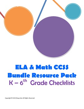 Common Core Checklists Bundle Packet: ELA and Math grades K-6