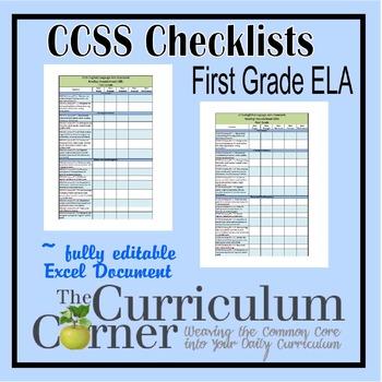 CCSS Checklists 1st Grade ELA Fully Editable Excel Document