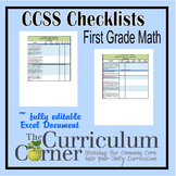 CCSS Checklists 1st Grade Math Fully Editable Excel Document