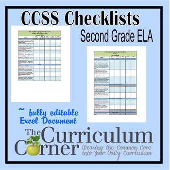 CCSS Checklists 2nd Grade ELA Fully Editable Excel Document