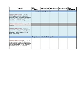 CCSS Checklists 3rd Grade ELA Fully Editable Excel Document