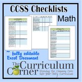 CCSS Checklists 3rd Grade Math Fully Editable Excel Document