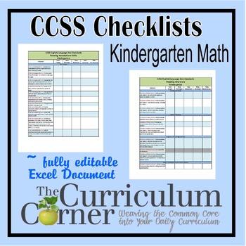 CCSS Checklists Kindergarten ELA Fully Editable Excel Document