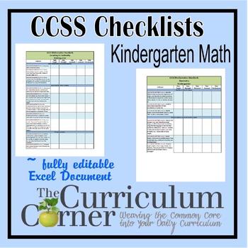 CCSS Checklists Kindergarten Math Fully Editable Excel Document