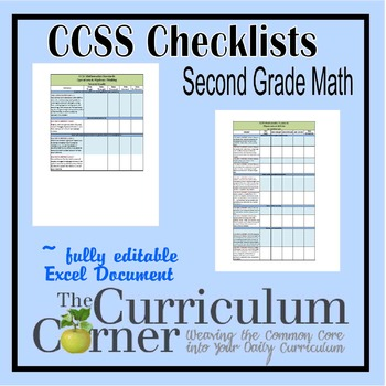 CCSS Checklists Second Grade Math Fully Editable Excel Document