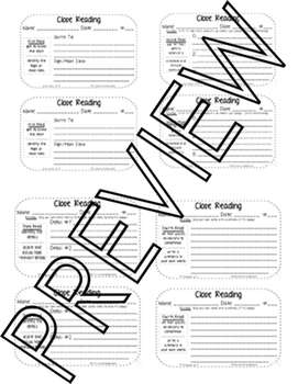 Close Reading - Student Close Reading CCSS Response Templates