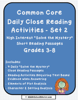 CCSS Common Core Reading Test Review High Interest Mysteries SET TWO - No Prep
