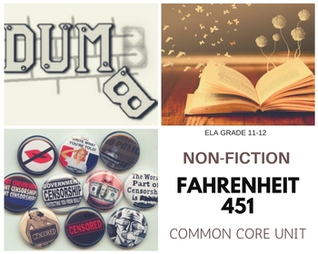 CCSS Common Core Standards Non-Fiction Unit with Ray Bradbury's Fahrenheit 451