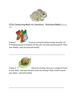 "CCSS Connecting Math to Literature ""Velveteen Rabbit"""