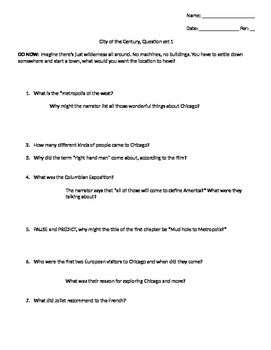 "CCSS/Critical Thinking questions for ""City of the Century"" Film"