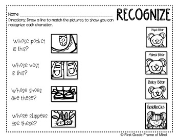 Academic Vocabulary Goldilocks and the Three Bears Anchor Charts Activities